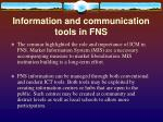 information and communication tools in fns