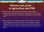 women and youth in agriculture and fns