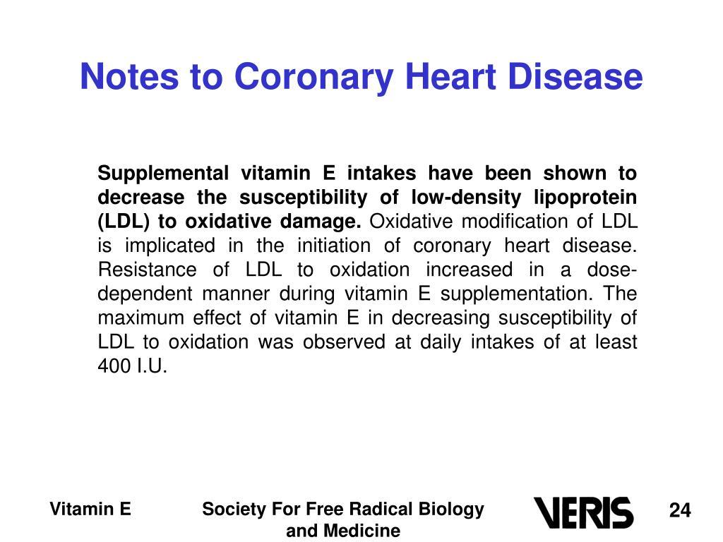 Notes to Coronary Heart Disease