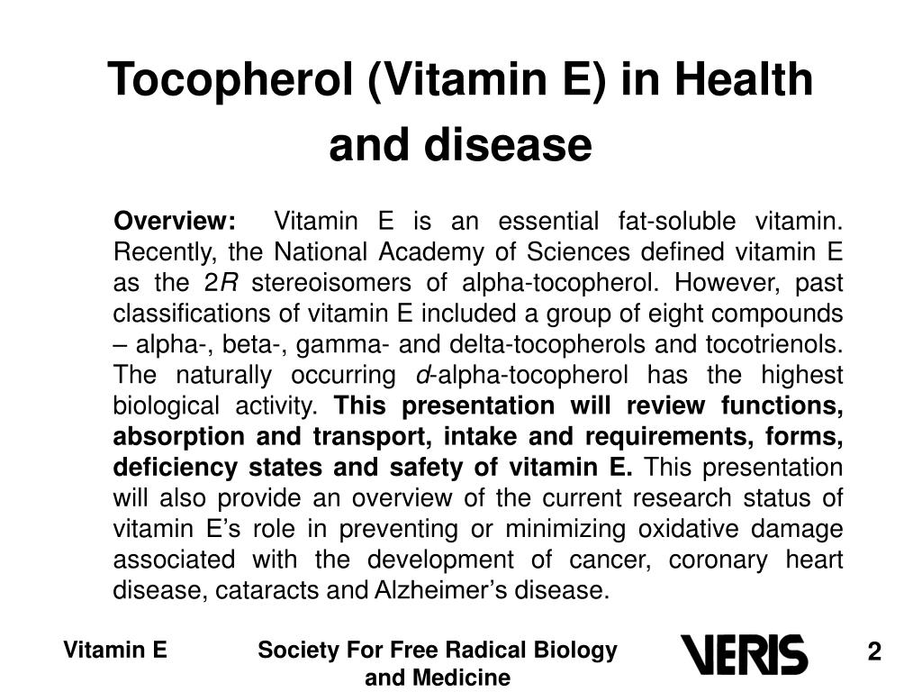 Tocopherol (Vitamin E) in Health and disease