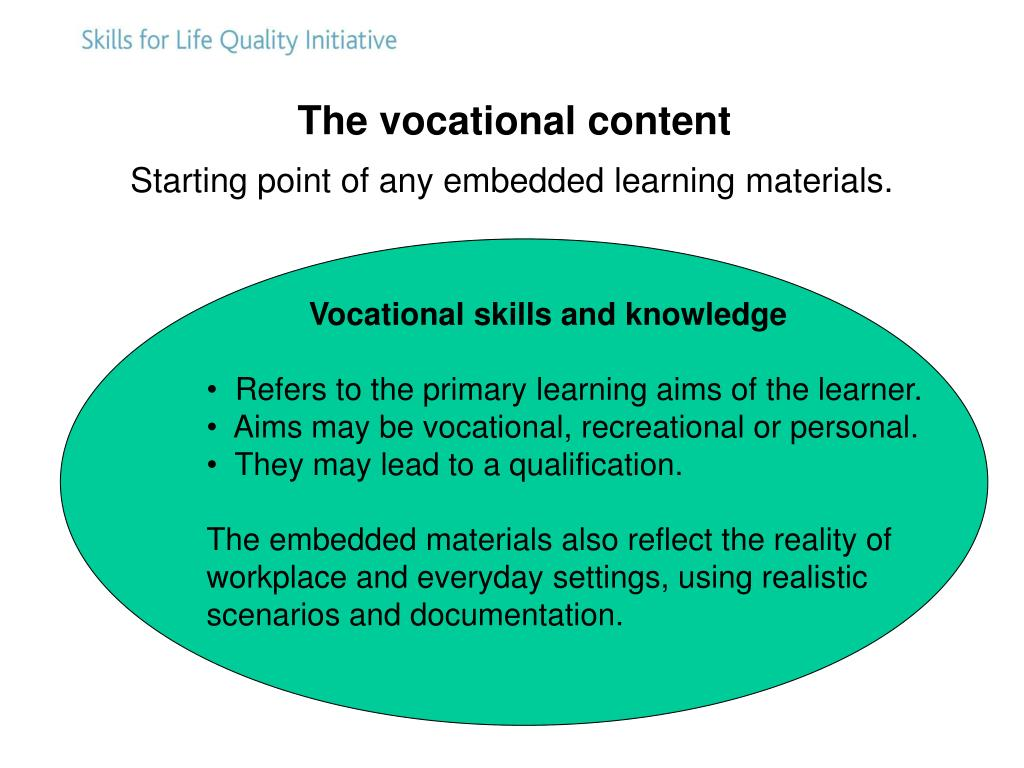 The vocational content
