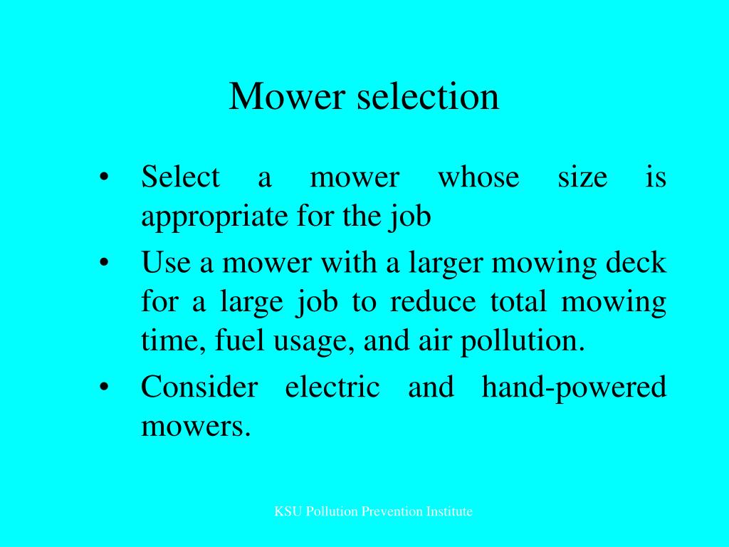 Mower selection