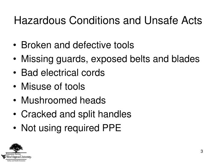 Hazardous conditions and unsafe acts