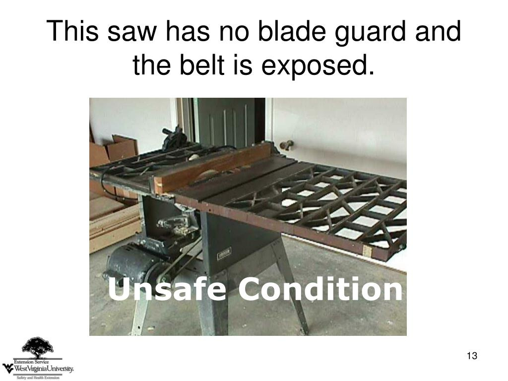 This saw has no blade guard and the belt is exposed.