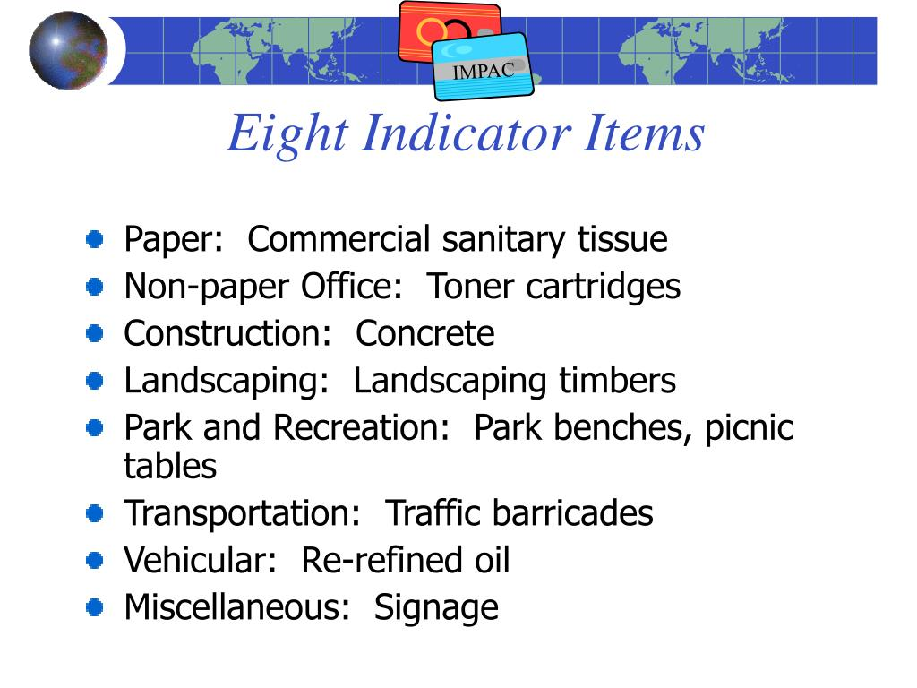 Eight Indicator Items
