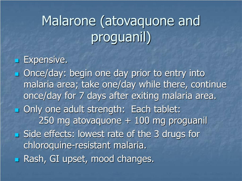 Malarone (atovaquone and proguanil)