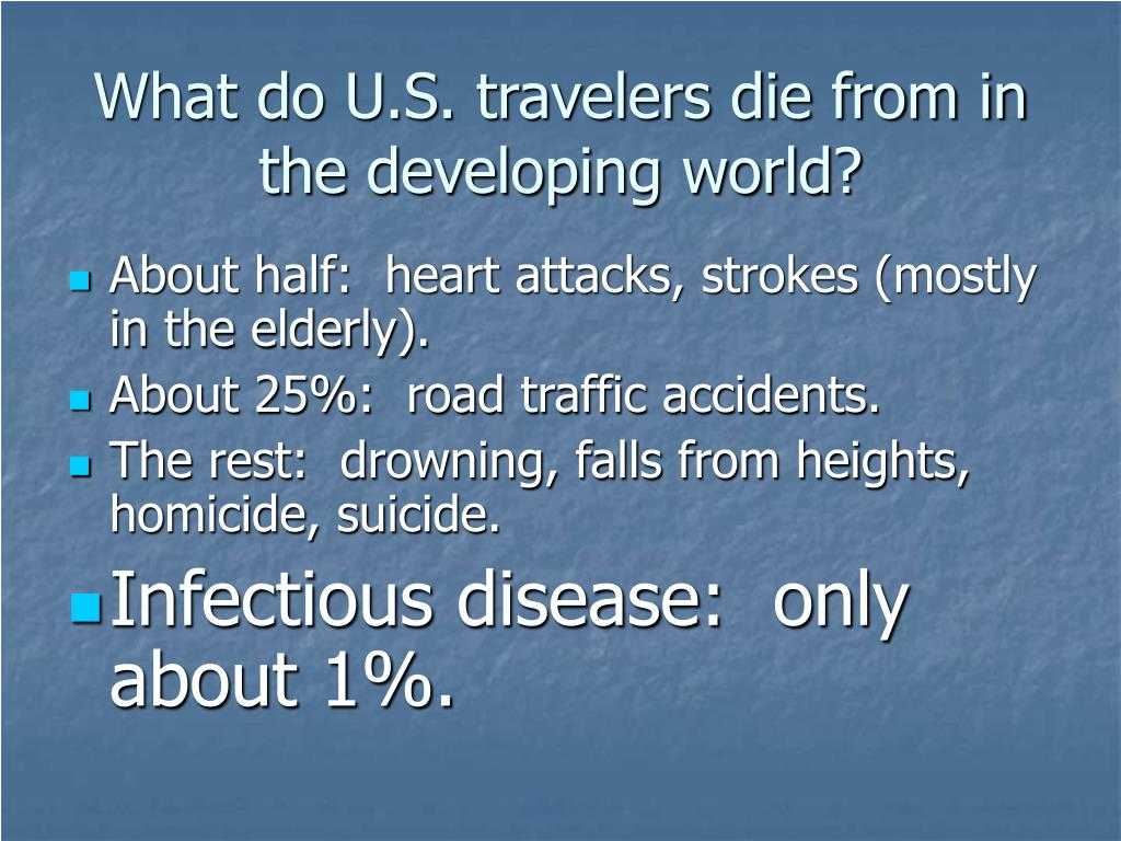 What do U.S. travelers die from in the developing world?