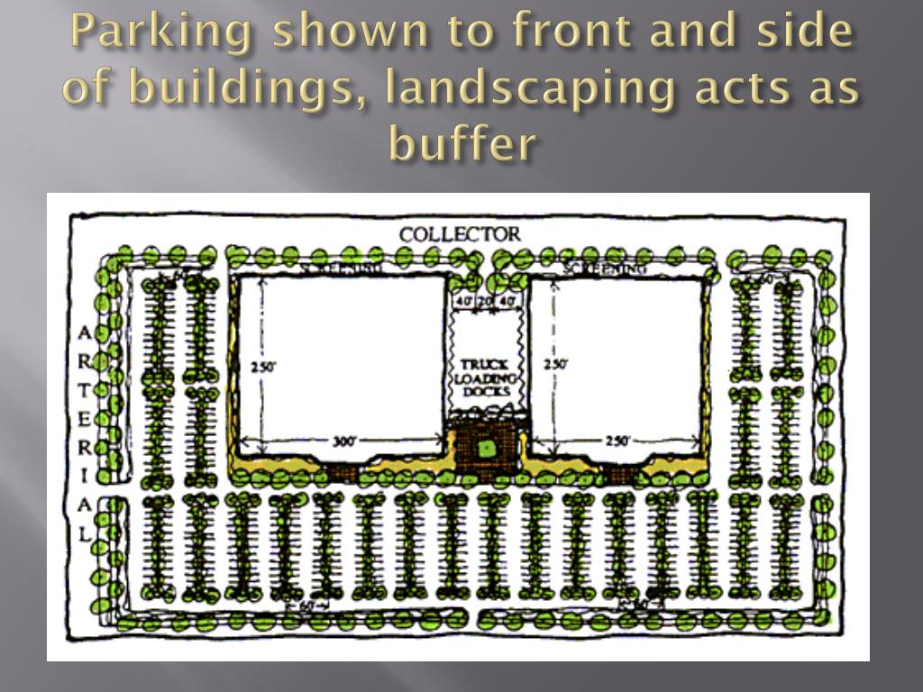 Parking shown to front and side of buildings, landscaping acts as buffer