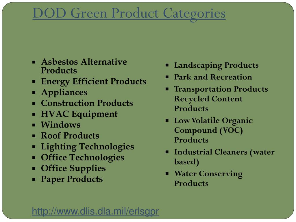 DOD Green Product Categories