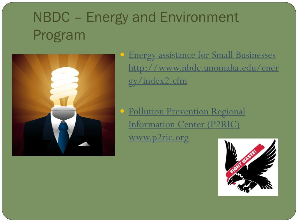 NBDC – Energy and Environment Program