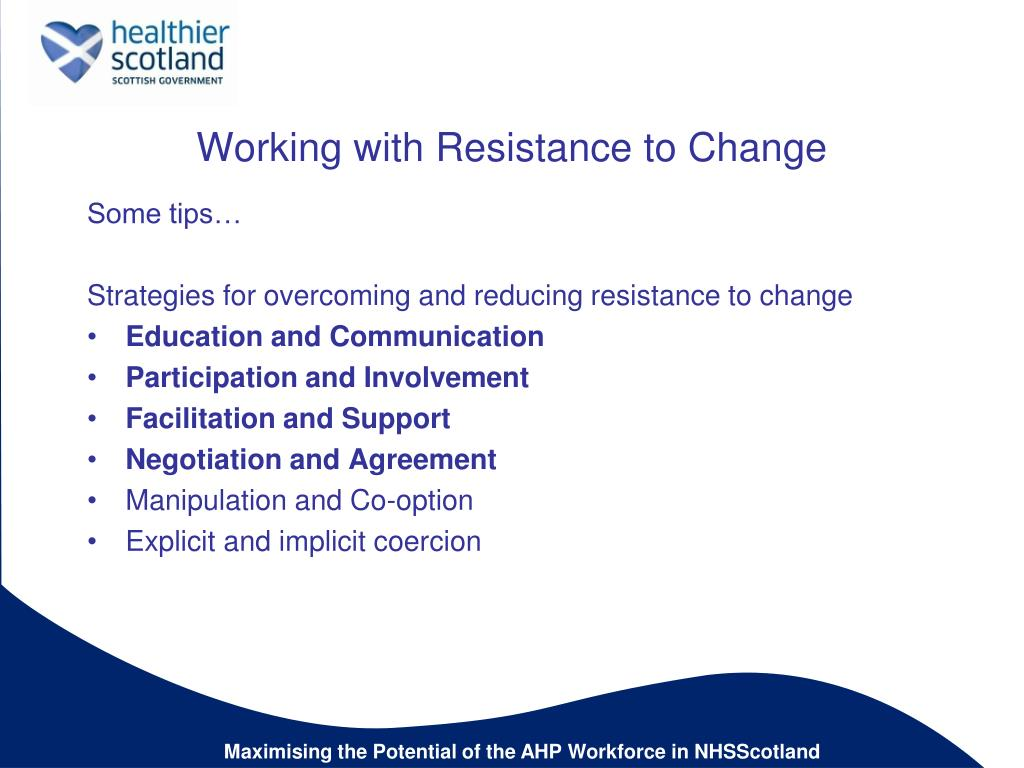 resistance to change nursing In this article, the authors consider the implementation of change in long term care organizations (ltcos) and present their study describing the process by which new nursing assistants are informally integrated into ltcos in quebec, canada the study method included 23 in-depth interviews with .