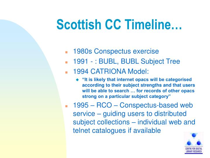 Scottish cc timeline