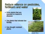 reduce reliance on pesticides fertilizers and water