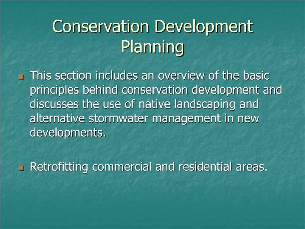 Conservation Development Planning