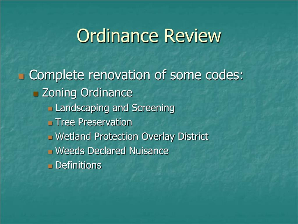 Ordinance Review