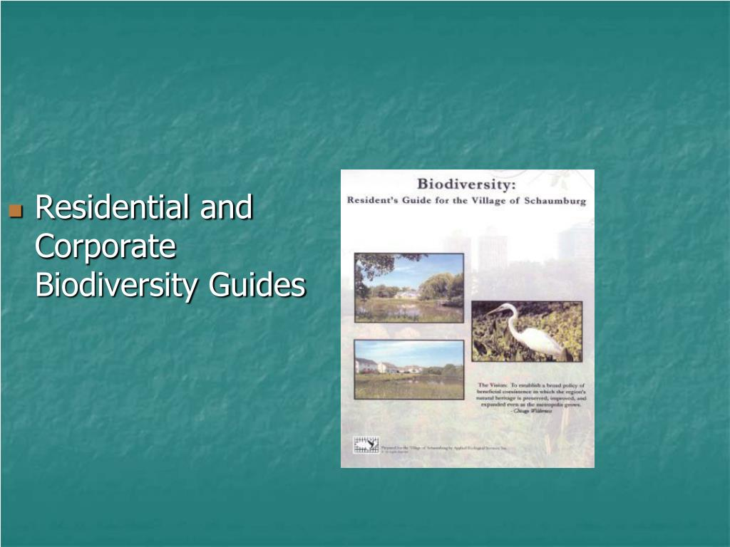 Residential and Corporate Biodiversity Guides