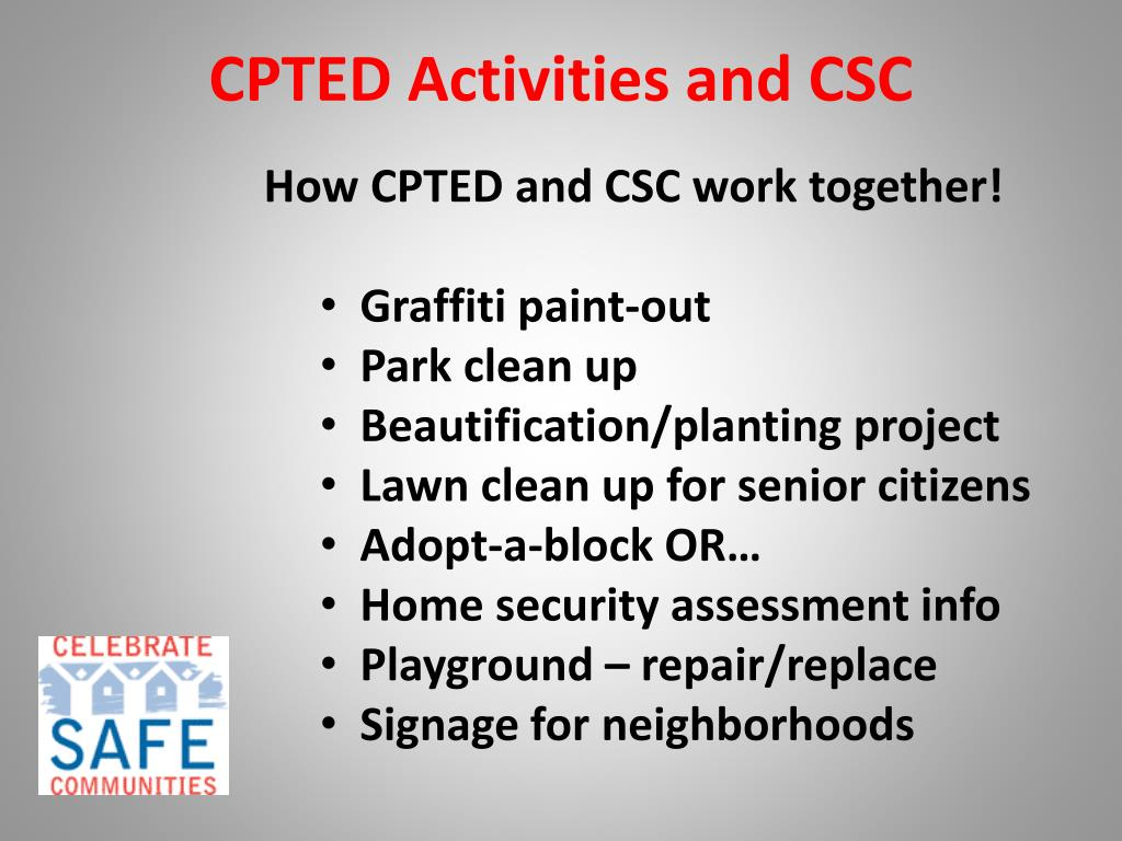 CPTED Activities and CSC