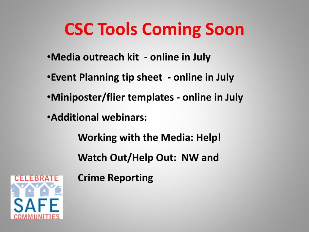 CSC Tools Coming Soon