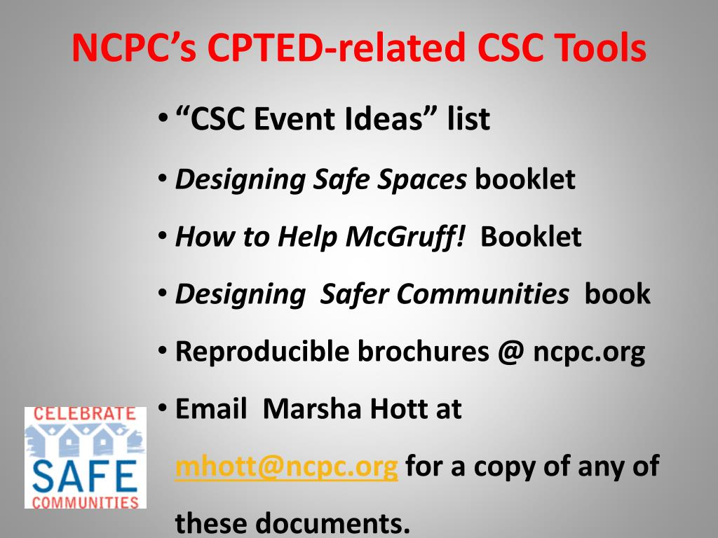 NCPC's CPTED-related CSC Tools
