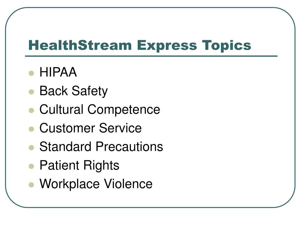 HealthStream Express Topics
