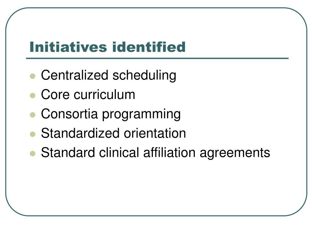 Initiatives identified