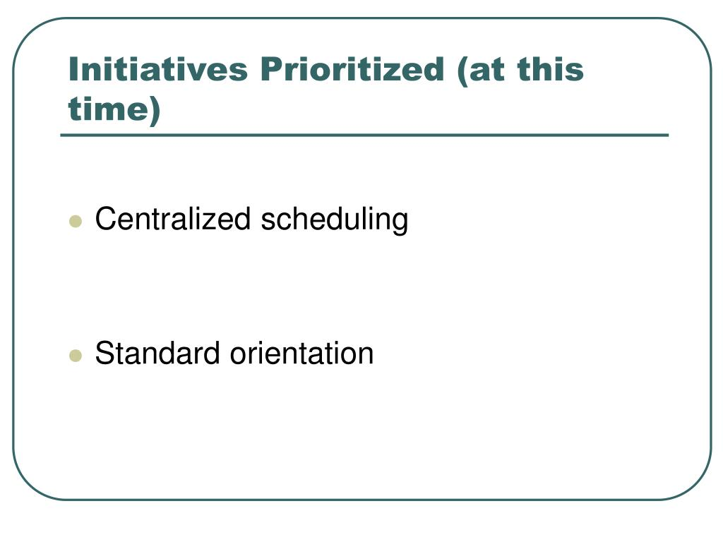Initiatives Prioritized (at this time)