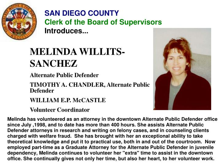 MELINDA WILLITS-SANCHEZ