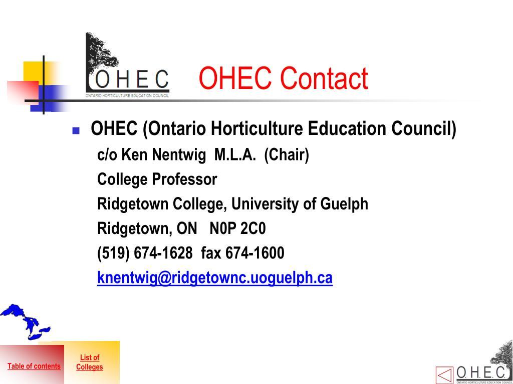 OHEC Contact