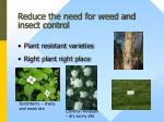 reduce the need for weed and insect control