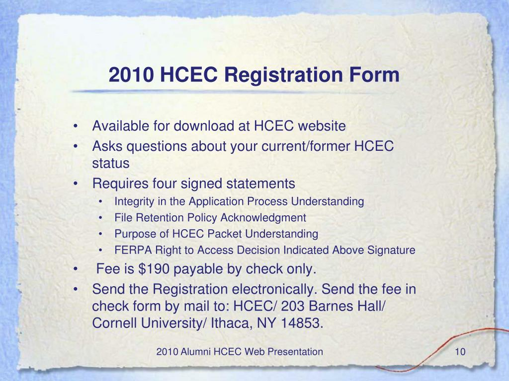 Available for download at HCEC website