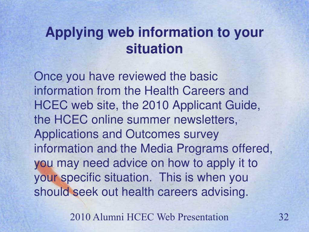 Applying web information to your situation