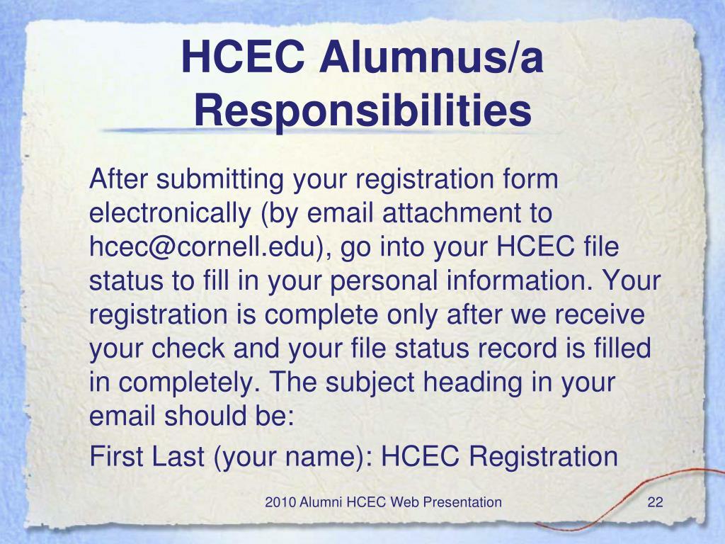 HCEC Alumnus/a Responsibilities