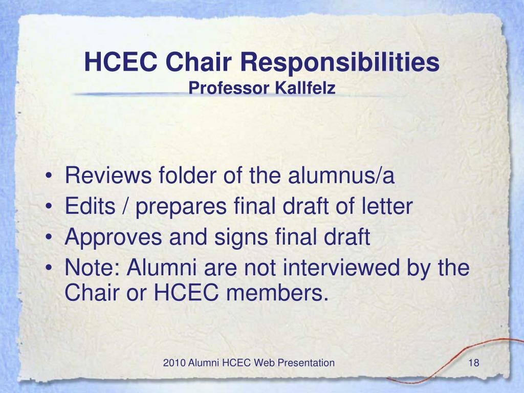 HCEC Chair Responsibilities