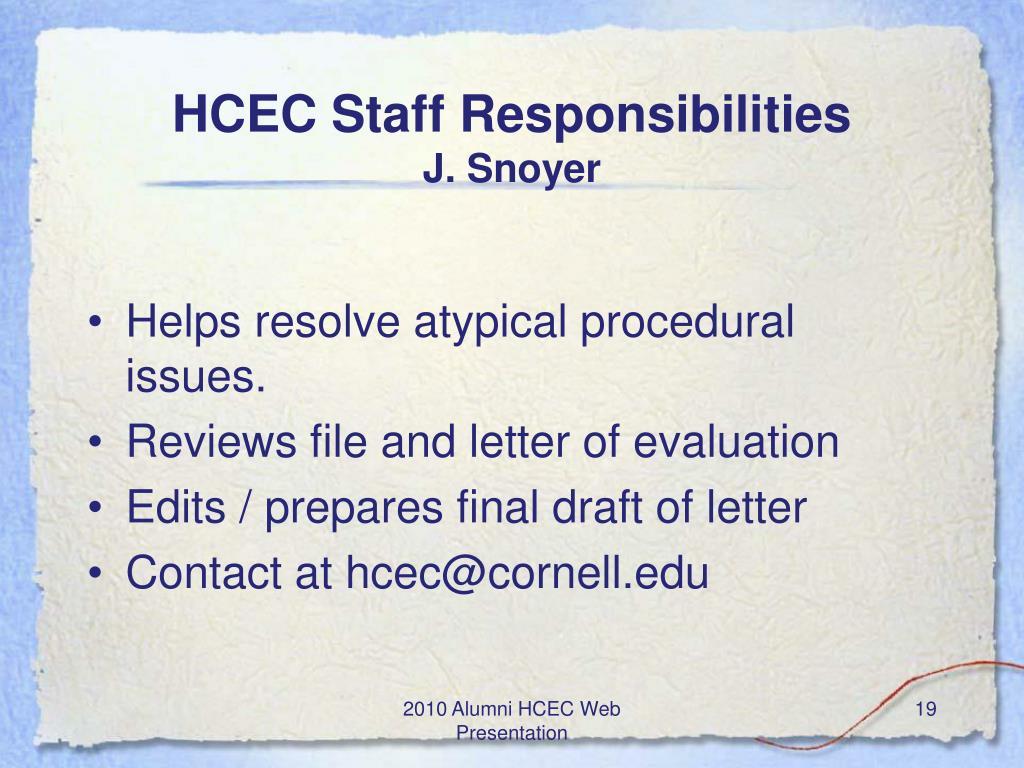 HCEC Staff Responsibilities