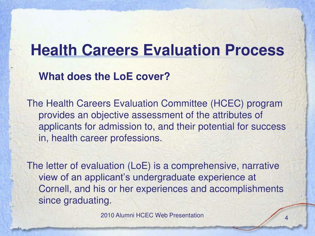 Health Careers Evaluation Process