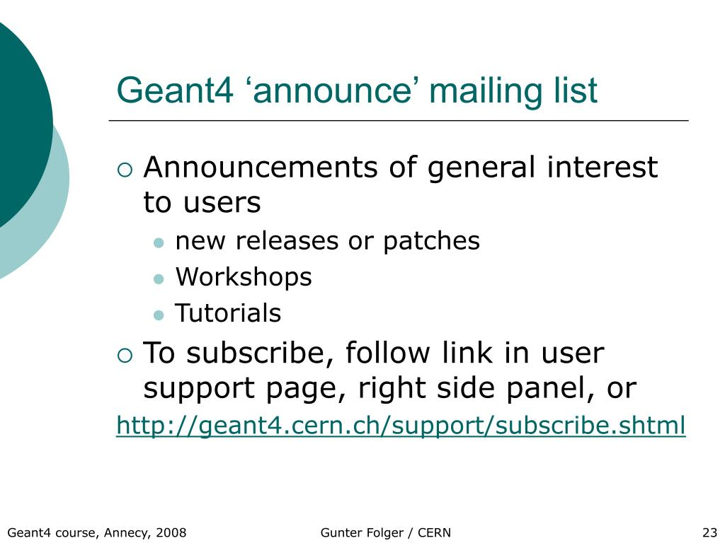 Geant4 'announce' mailing list