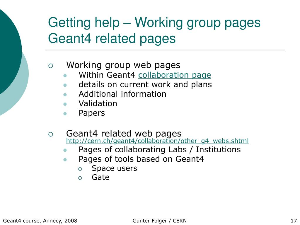 Getting help – Working group pages