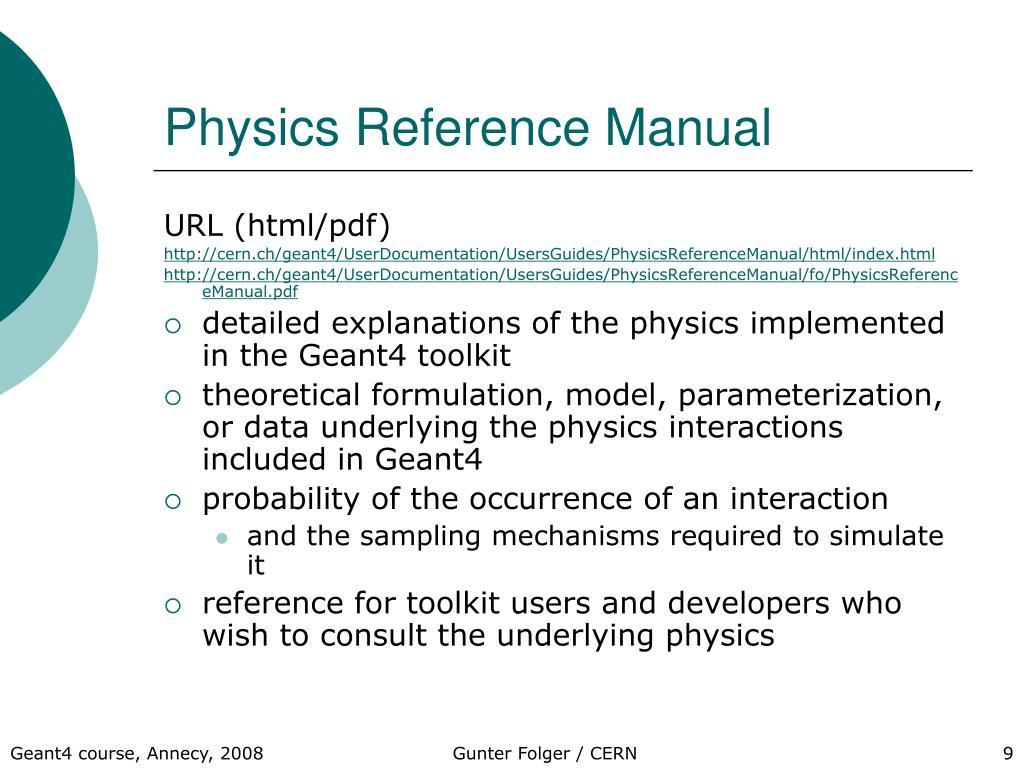Physics Reference Manual