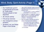 mind body spirit activity page 1