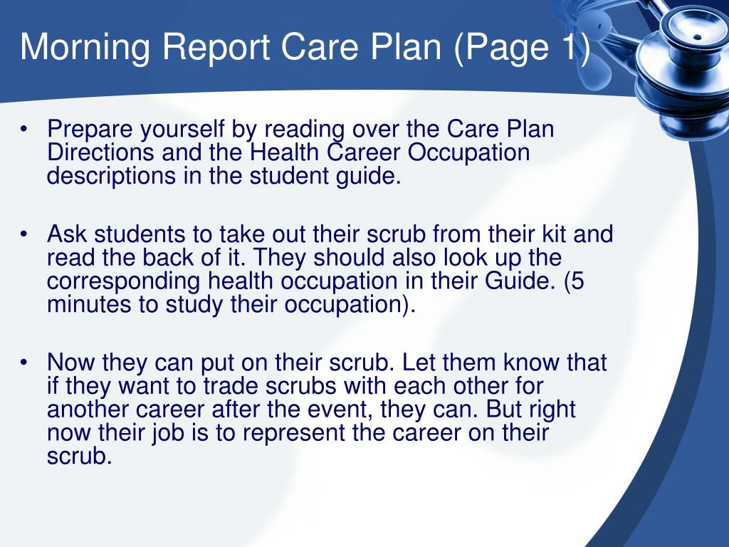 Morning Report Care Plan (Page 1)