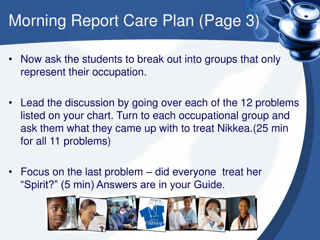 Morning Report Care Plan (Page 3)