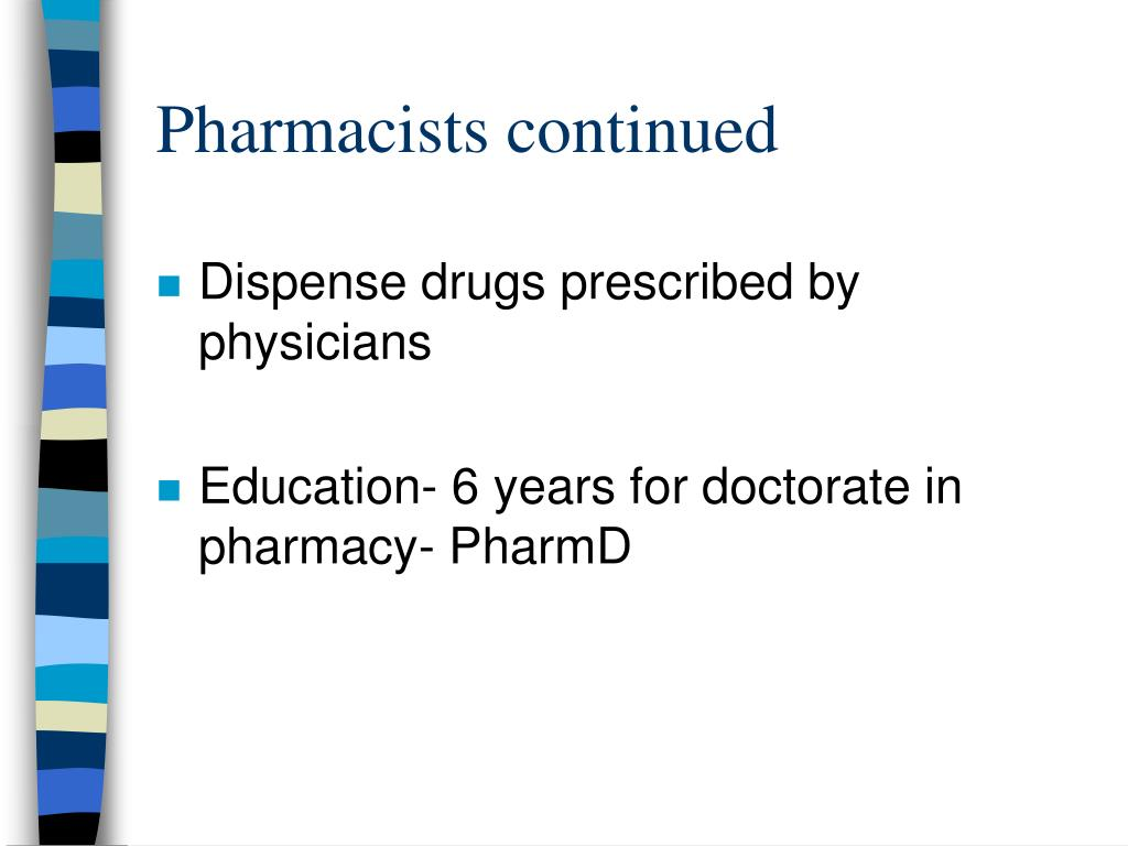 Pharmacists continued