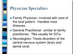 physician specialties