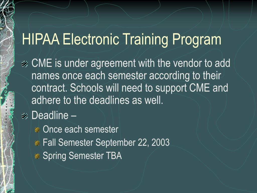 HIPAA Electronic Training Program
