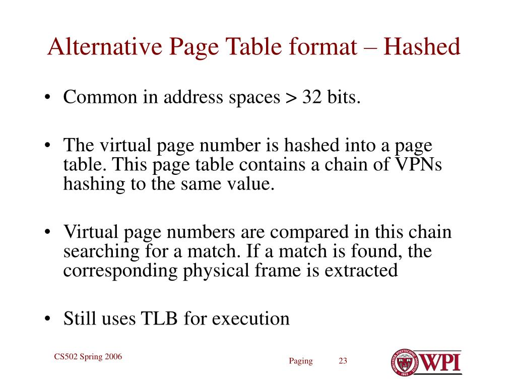Alternative Page Table format – Hashed