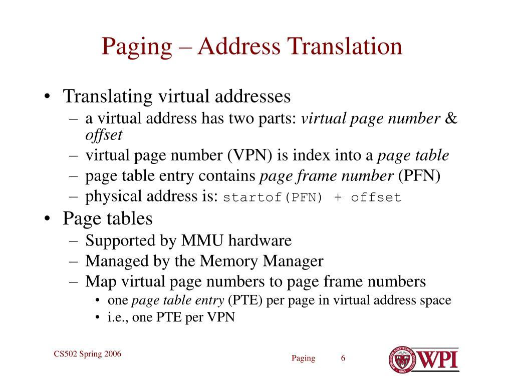 Paging – Address Translation