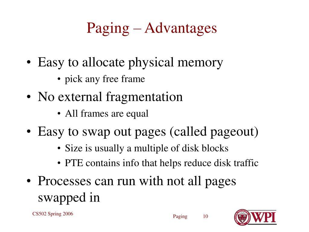 Paging – Advantages