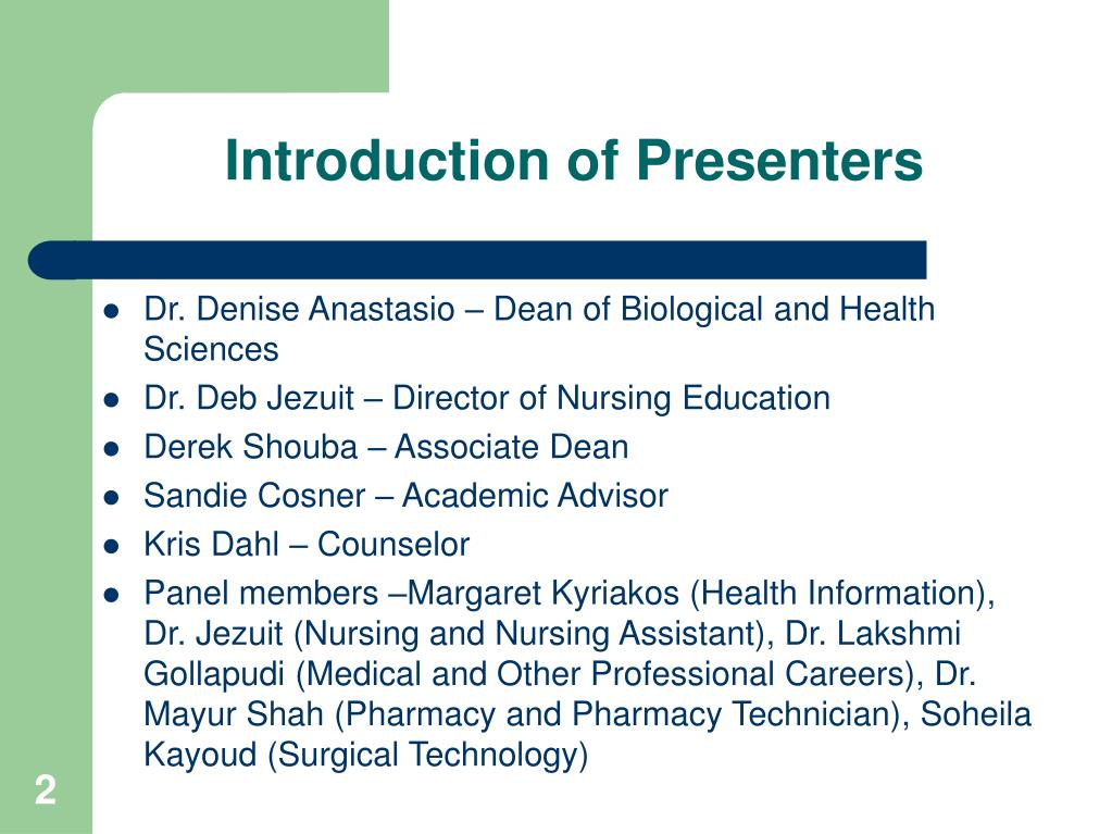 Introduction of Presenters