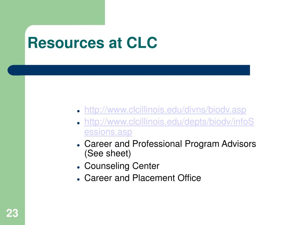 Resources at CLC