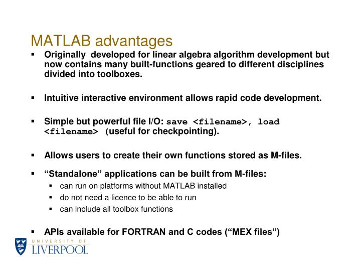 Matlab advantages